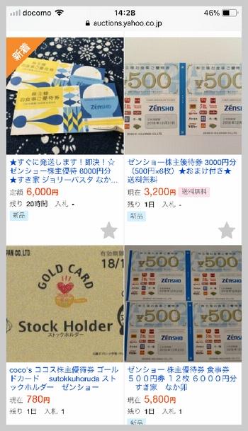 ヤフオクではま寿司の株主優待クーポン券を購入する手順(クーポン価格を確認)